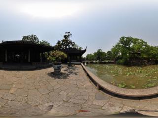 苏州拙政园内一景全景