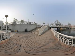 天津海河上的解放桥全景