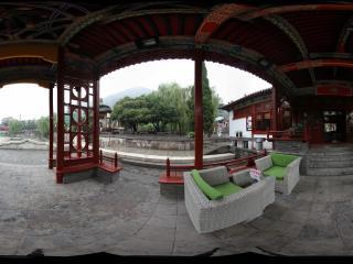 华清宫九曲回廊的茶楼