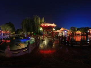 济南趵突泉夜景全景