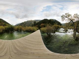 九寨沟盆景滩木板桥
