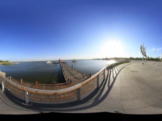 南海湿地景区内主广场全景