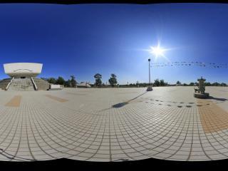 蒙古风情园成吉思汗广场成吉思汗纪念堂全景