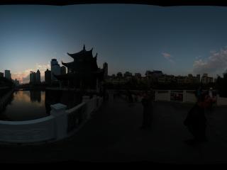 贵阳市甲秀楼落日全景