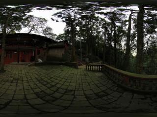 青城山 天然图画后面的观景台的青苔