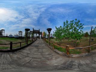 三国雕塑园旅游码头全景