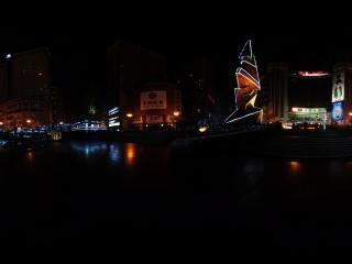重庆沙坪坝三峡广场夜景全景