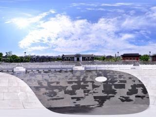 江西赣州客家文化城太极广场全景