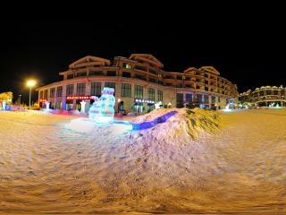吉林—长白山万达滑雪场夜景全景
