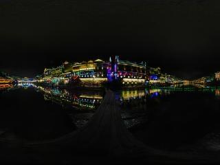 湖南—湘西凤凰古城夜景全景
