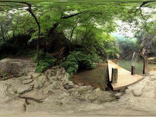 陕西—商洛金丝峡双溪瀑布全景