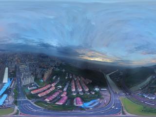 湖南—郴州夜幕下的郴州北城全景