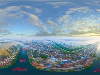 湖北—荆州水乡涴市全景