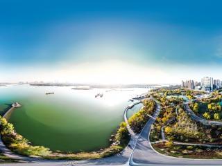 银川阅海湾水上公园夕阳航拍全景