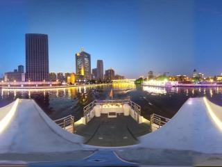海河夜景—意风区码头周边风光全景